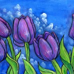 Tulips on Blue