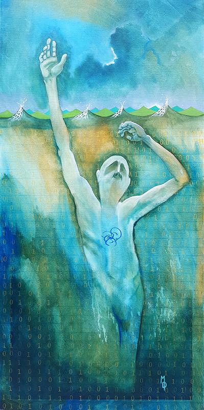 Drowning in Digital | Original Art by Miles Davis | Massive Burn Studios