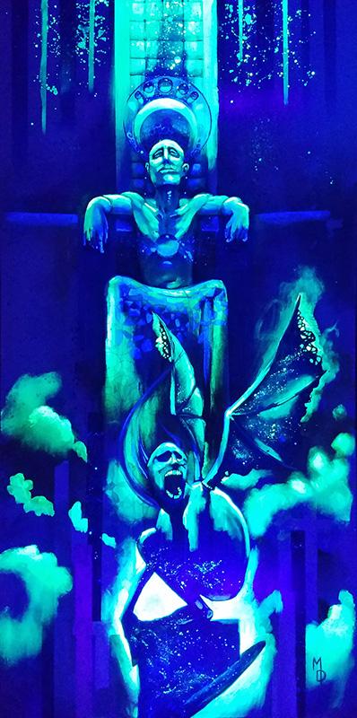 The Beast Beneath | Blacklight Art by Miles Davis | Massive Burn Studios